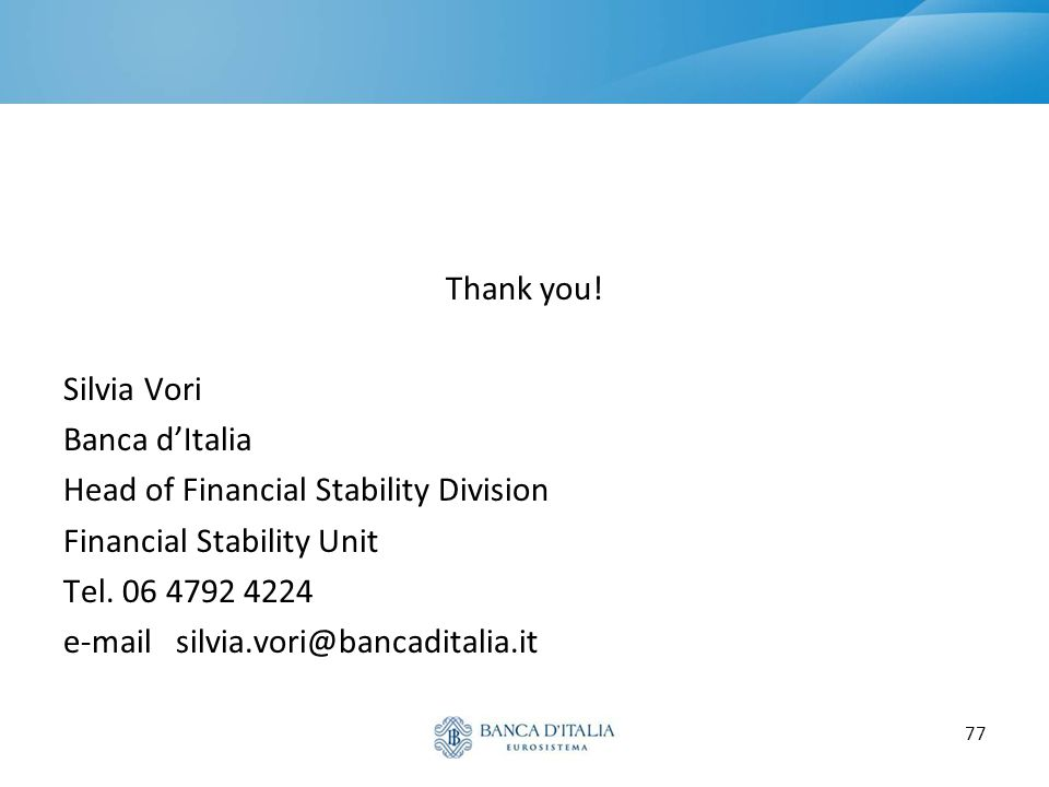 Thank you! Silvia Vori. Banca d'Italia. Head of Financial Stability Division. Financial Stability Unit.