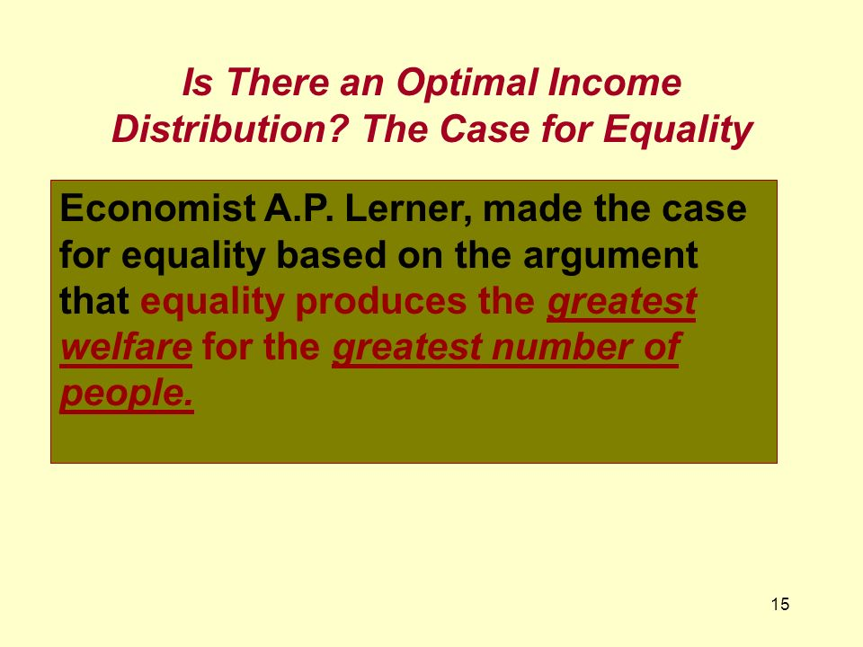 Is There an Optimal Income Distribution The Case for Equality