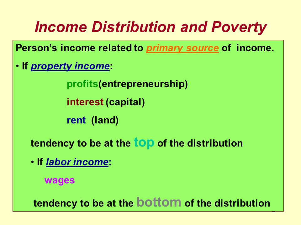 Income Distribution and Poverty