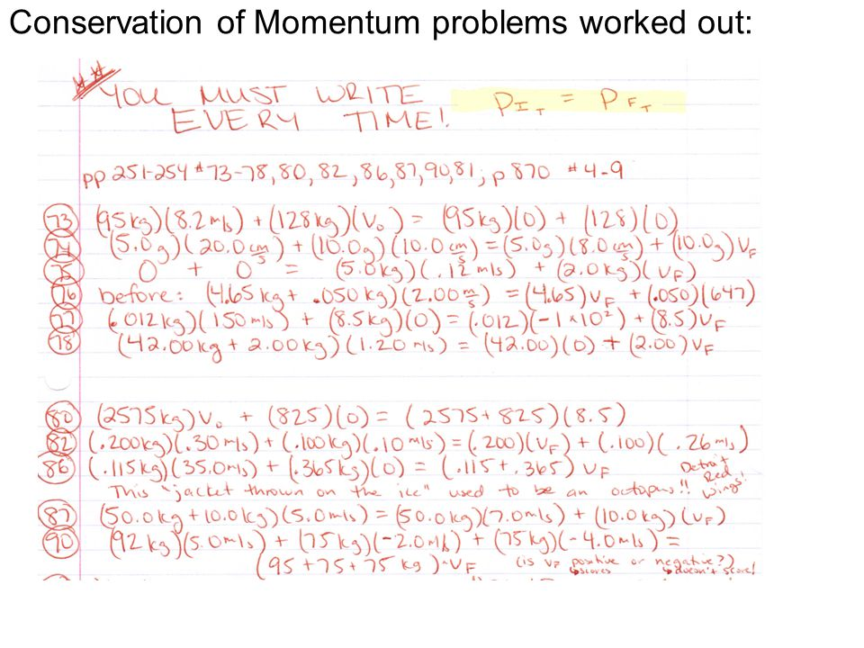 Conservation of Momentum problems worked out: