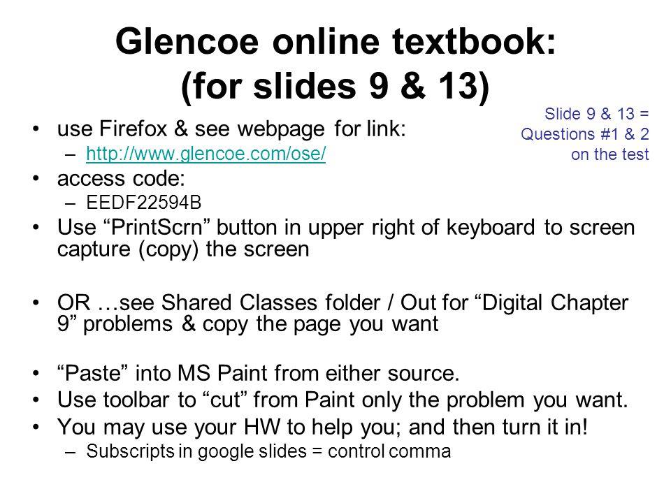 Glencoe online textbook: (for slides 9 & 13)