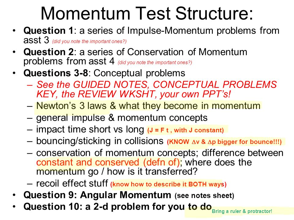 Momentum Test Structure: