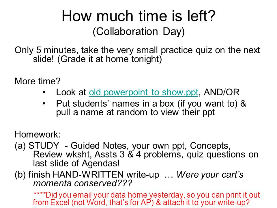 How much time is left (Collaboration Day)