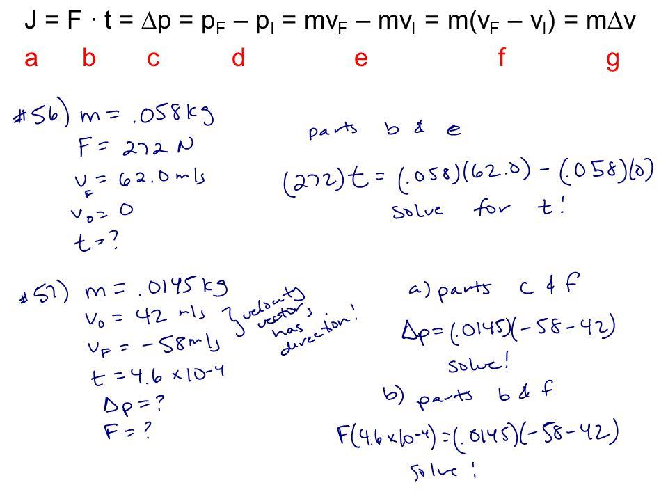 J = F · t = p = pF – pI = mvF – mvI = m(vF – vI) = mv
