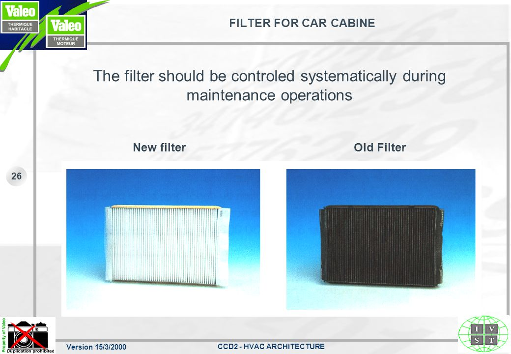 FILTER FOR CAR CABINE The filter should be controled systematically during maintenance operations. New filter.