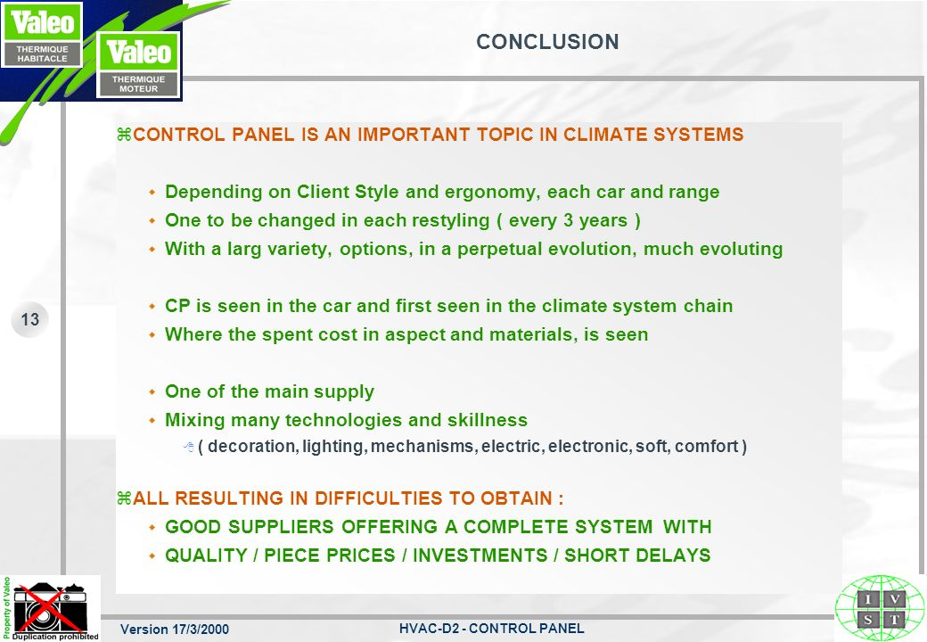CONCLUSION CONTROL PANEL IS AN IMPORTANT TOPIC IN CLIMATE SYSTEMS