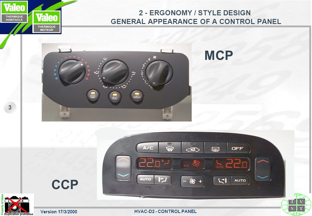 2 - ERGONOMY / STYLE DESIGN GENERAL APPEARANCE OF A CONTROL PANEL