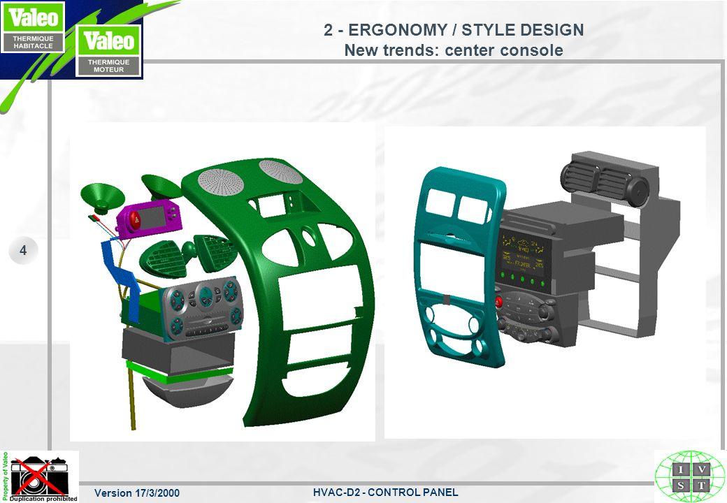 2 - ERGONOMY / STYLE DESIGN New trends: center console