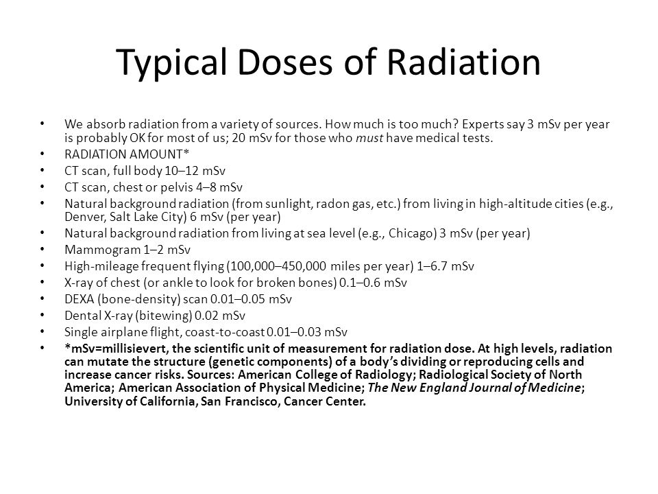 Typical Doses of Radiation
