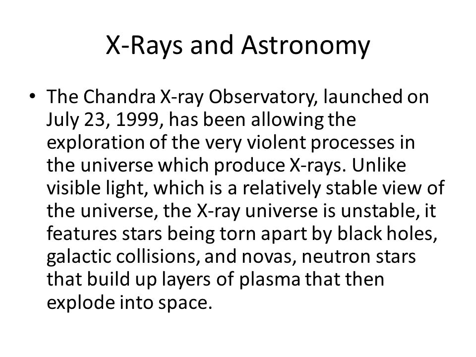 X-Rays and Astronomy