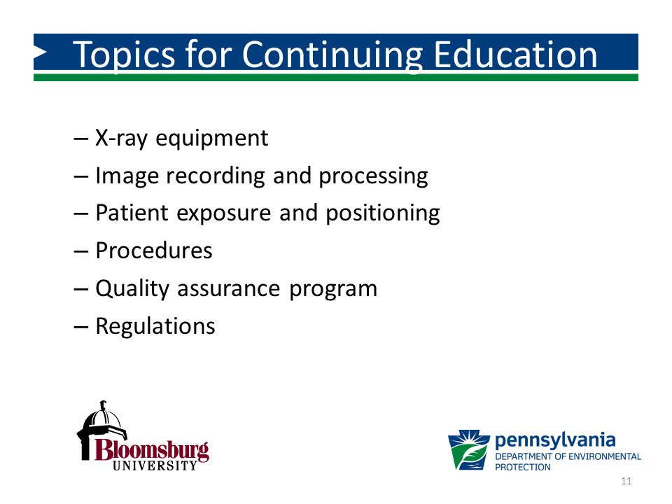 Topics for Continuing Education