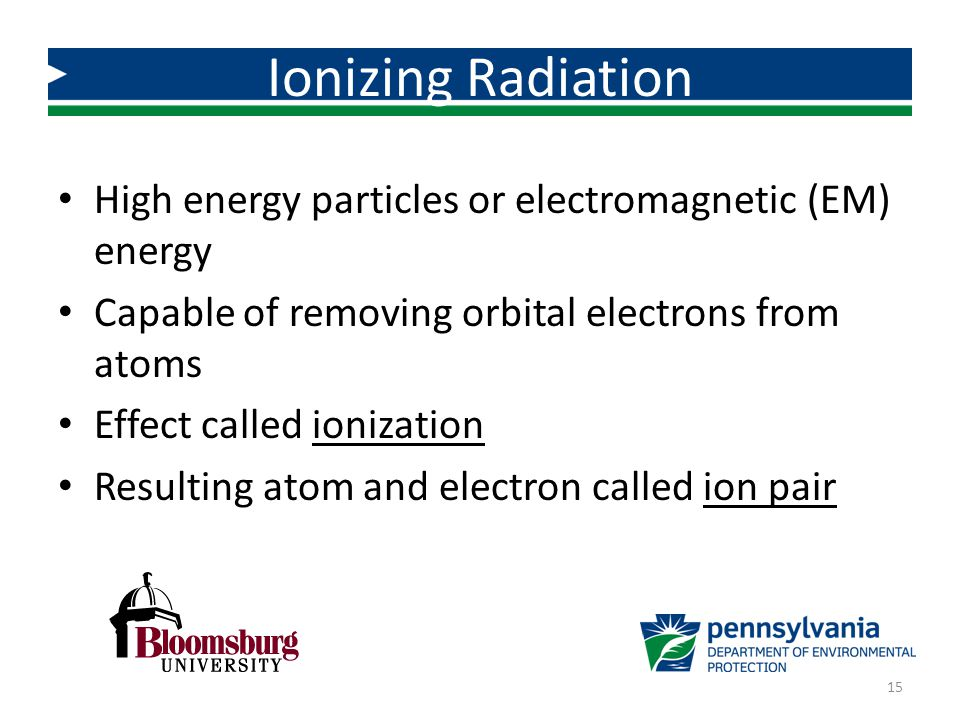 Ionizing Radiation High energy particles or electromagnetic (EM) energy. Capable of removing orbital electrons from atoms.