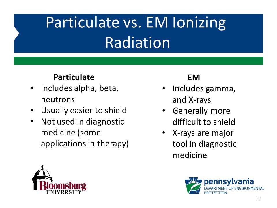 Particulate vs. EM Ionizing