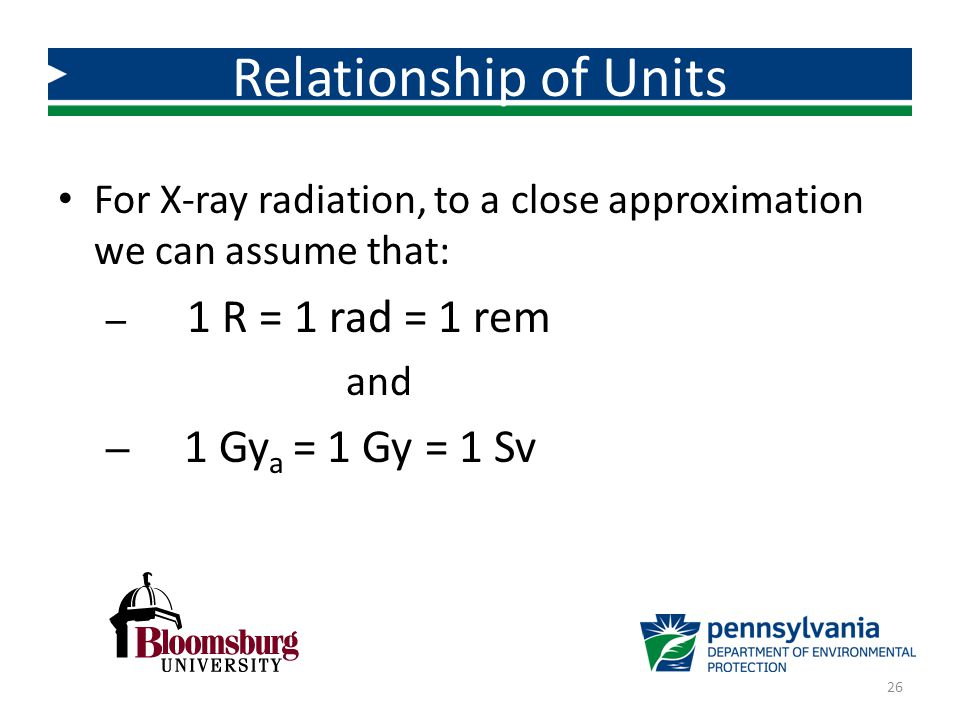 Relationship of Units For X-ray radiation, to a close approximation we can assume that: 1 R = 1 rad = 1 rem.