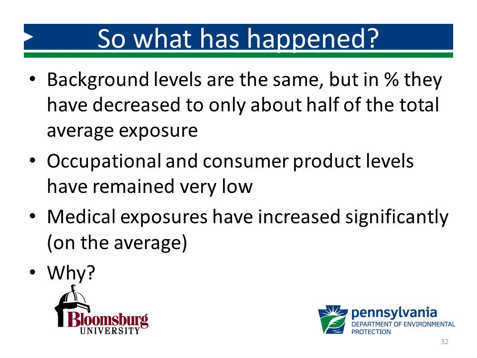 So what has happened Background levels are the same, but in % they have decreased to only about half of the total average exposure.