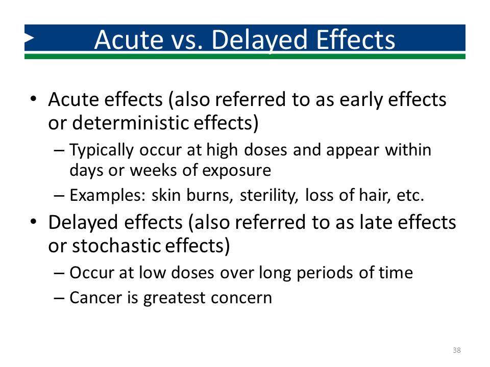 Acute vs. Delayed Effects