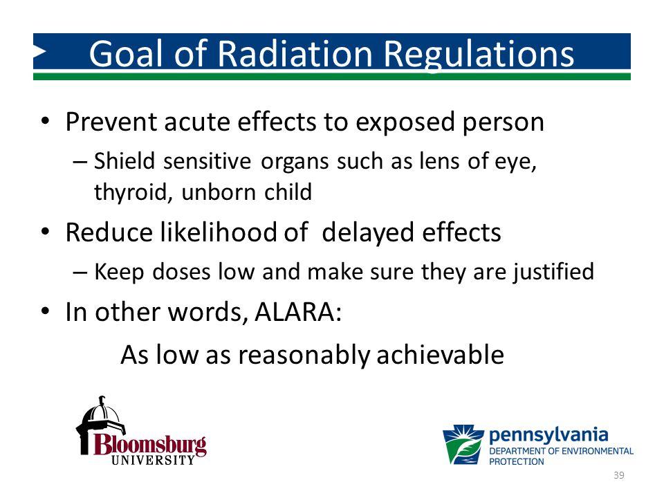 Goal of Radiation Regulations