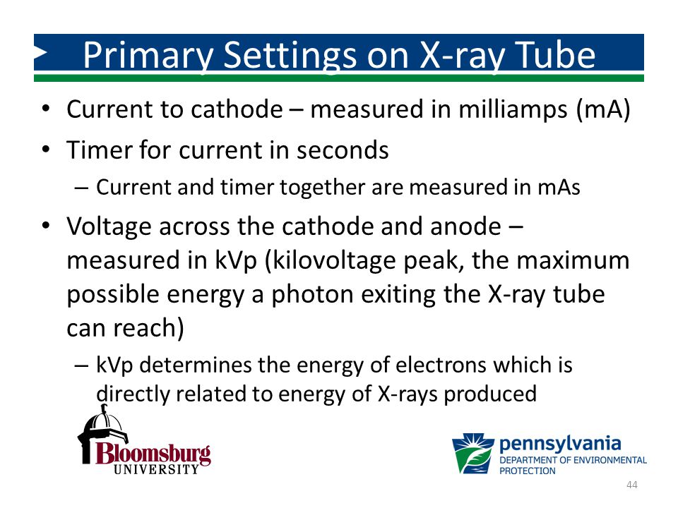 Primary Settings on X-ray Tube