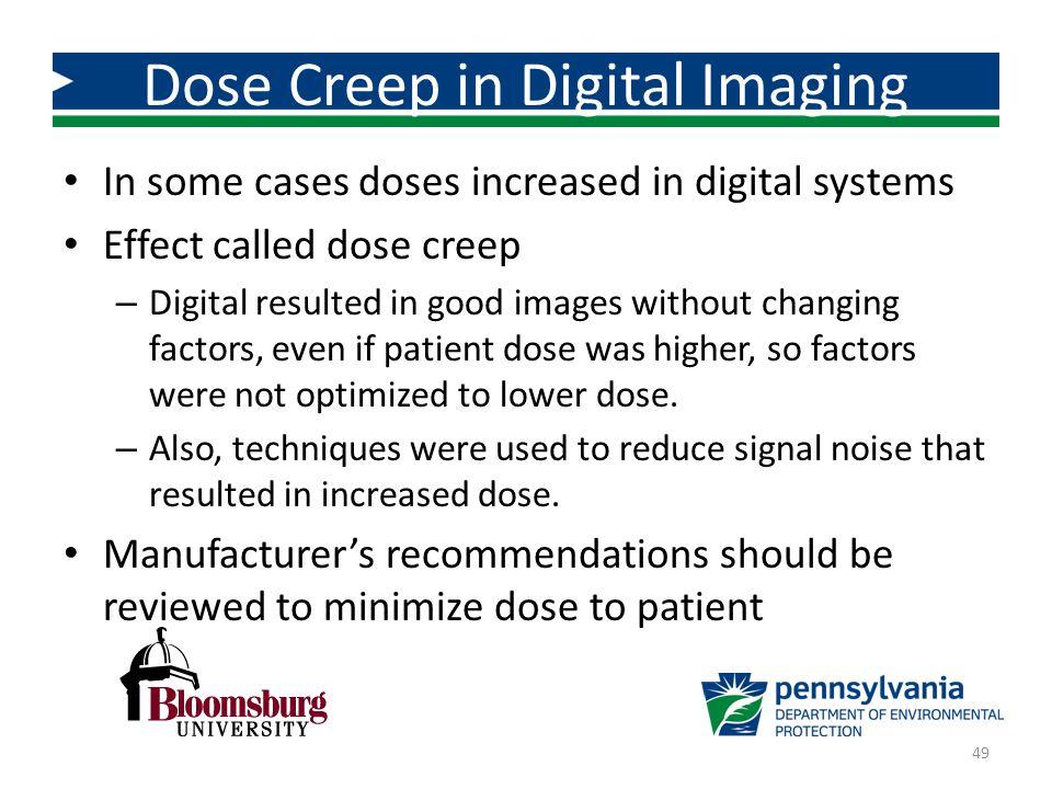 Dose Creep in Digital Imaging