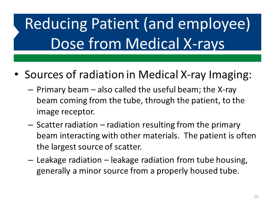 Reducing Patient (and employee) Dose from Medical X-rays