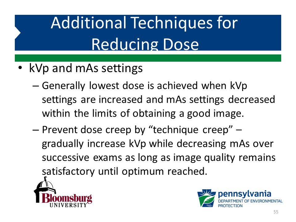 Additional Techniques for Reducing Dose
