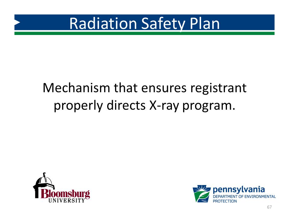 Mechanism that ensures registrant properly directs X-ray program.