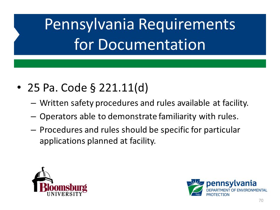 Pennsylvania Requirements for Documentation