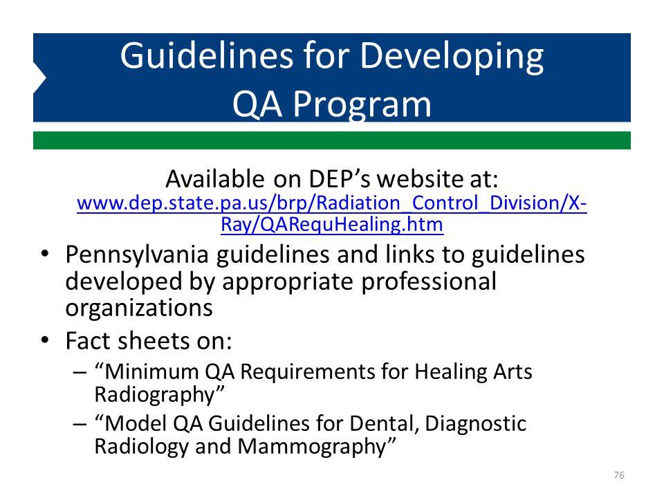 Guidelines for Developing QA Program