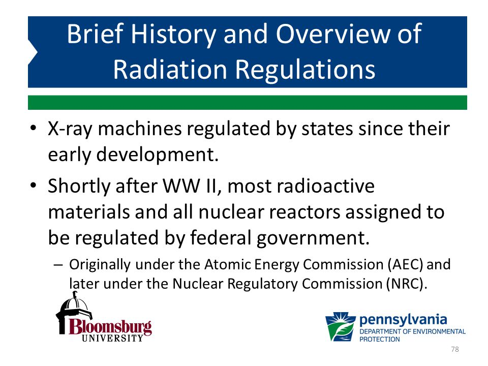 Brief History and Overview of Radiation Regulations