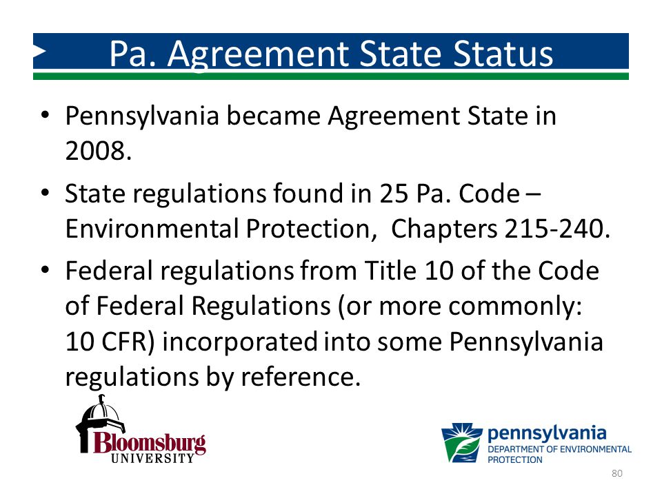 Pa. Agreement State Status