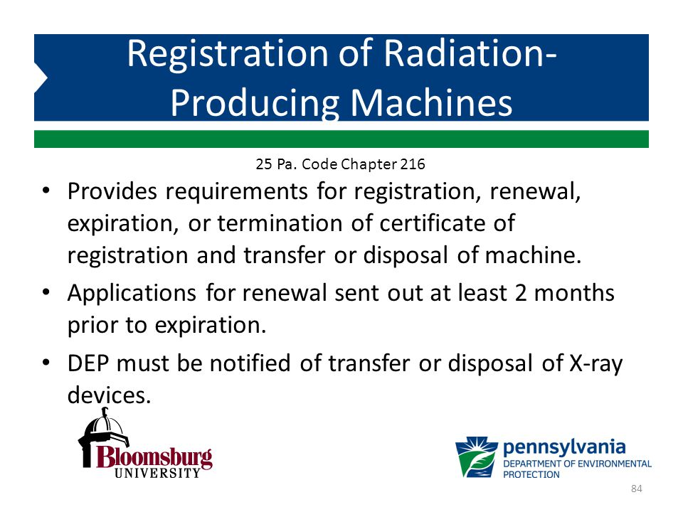 Registration of Radiation-Producing Machines