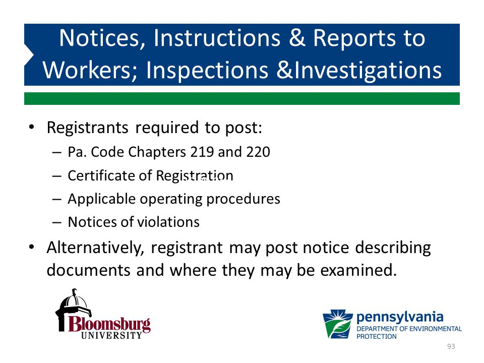 Notices, Instructions & Reports to Workers; Inspections &Investigations
