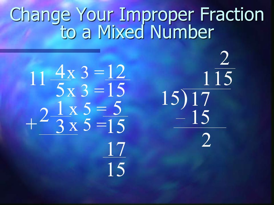 Change Your Improper Fraction to a Mixed Number