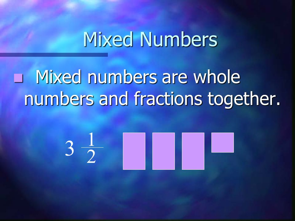 Mixed Numbers Mixed numbers are whole numbers and fractions together. 1 3 2