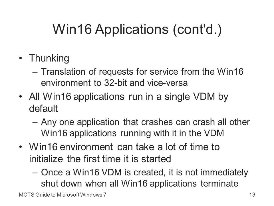 Win16 Applications (cont d.)