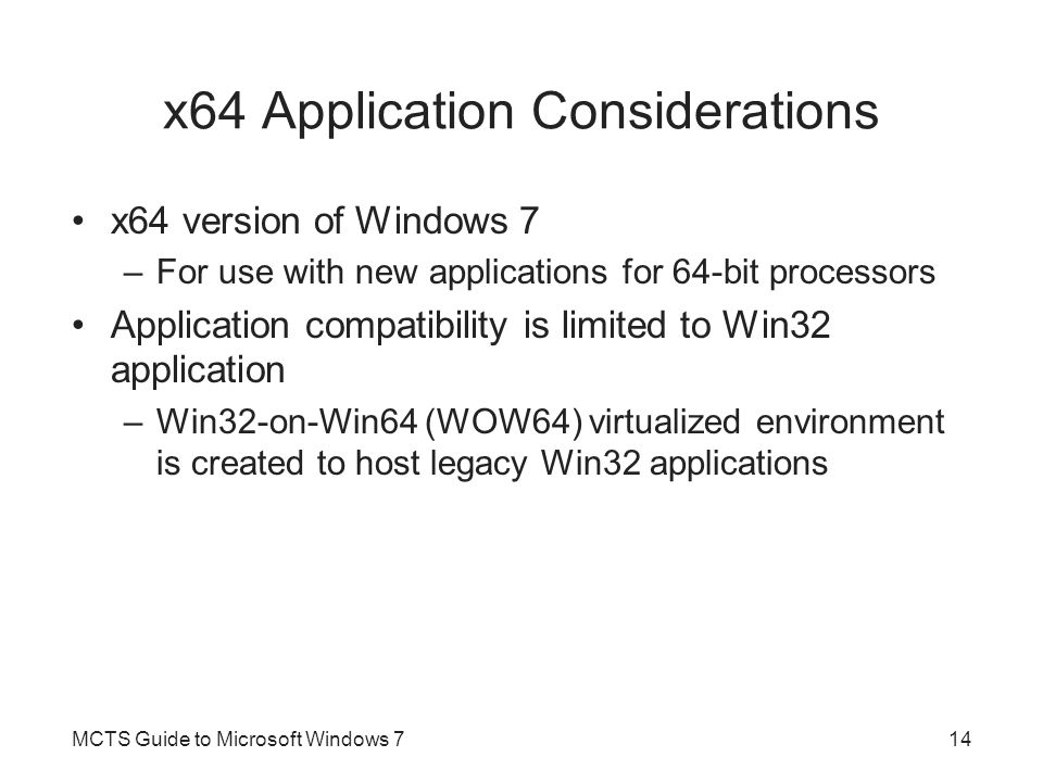 x64 Application Considerations