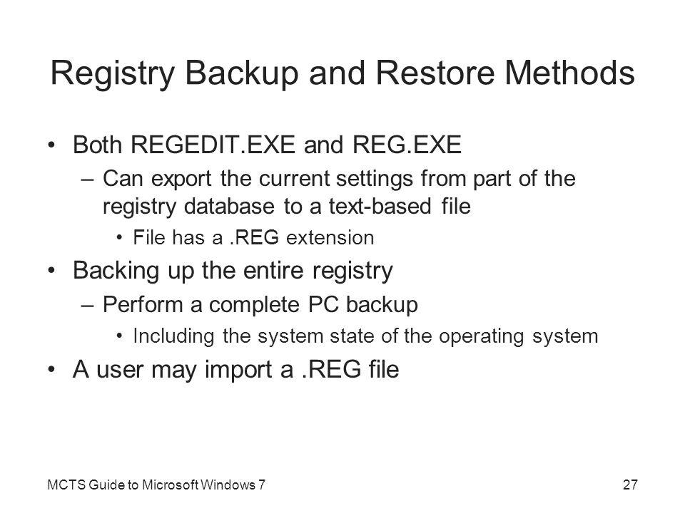 Registry Backup and Restore Methods
