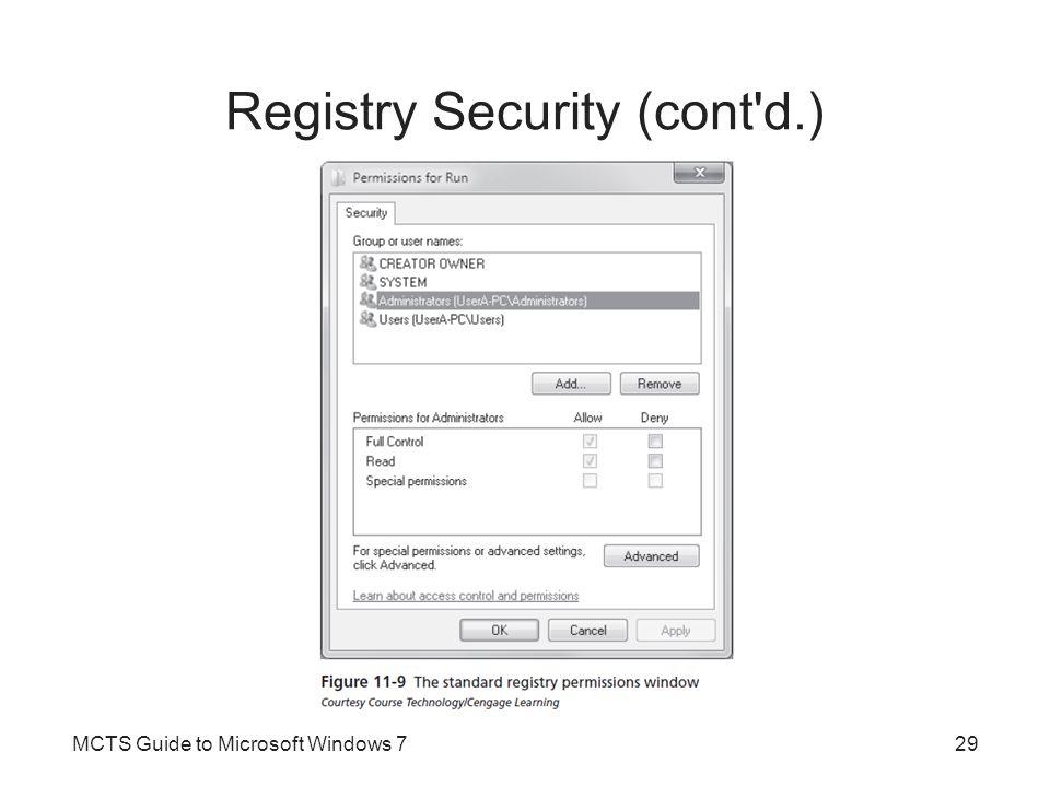 Registry Security (cont d.)