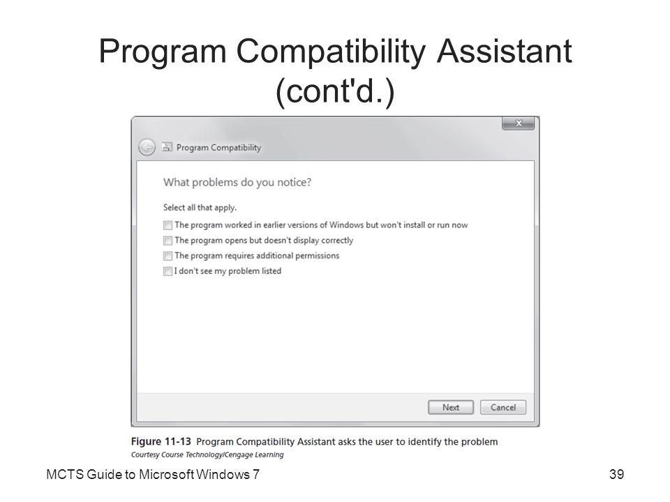 Program Compatibility Assistant (cont d.)