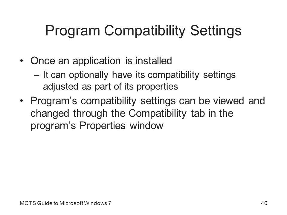 Program Compatibility Settings