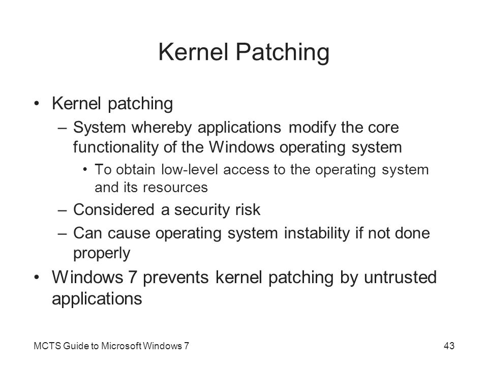 Kernel Patching Kernel patching