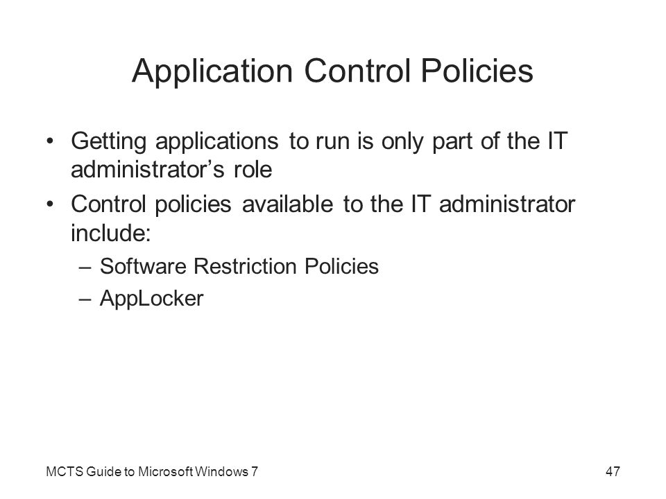 Application Control Policies
