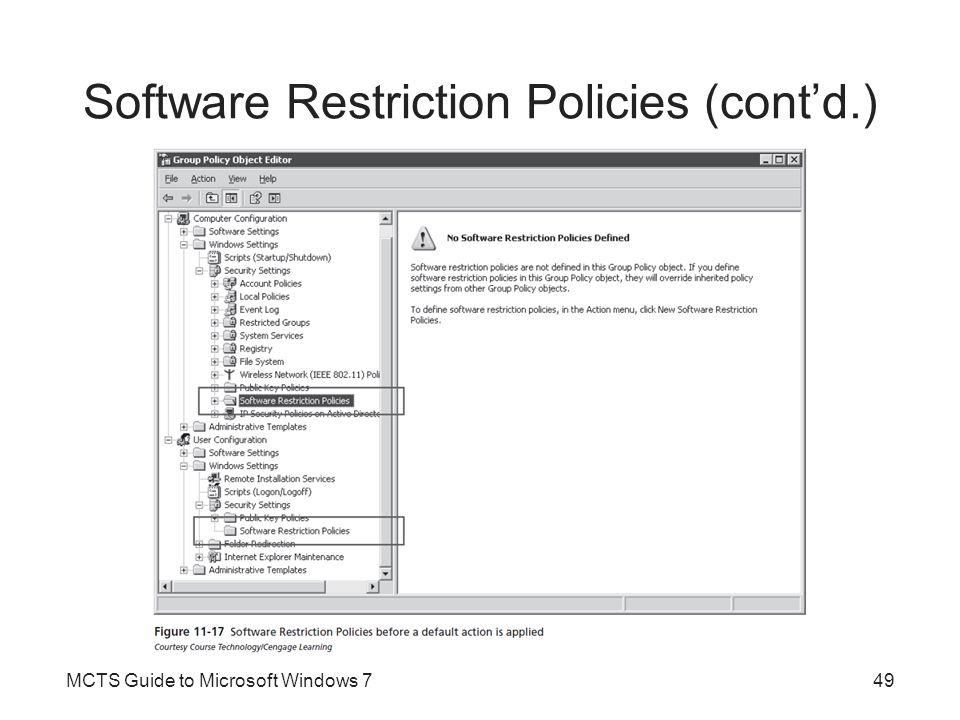 Software Restriction Policies (cont'd.)