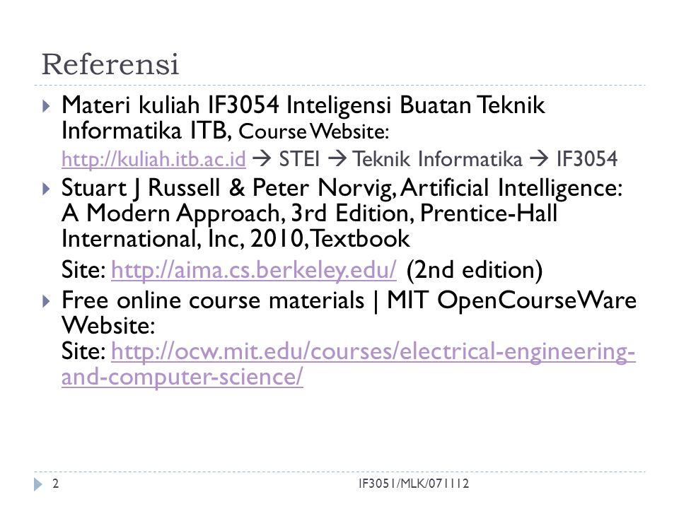 Referensi Materi kuliah IF3054 Inteligensi Buatan Teknik Informatika ITB, Course Website: