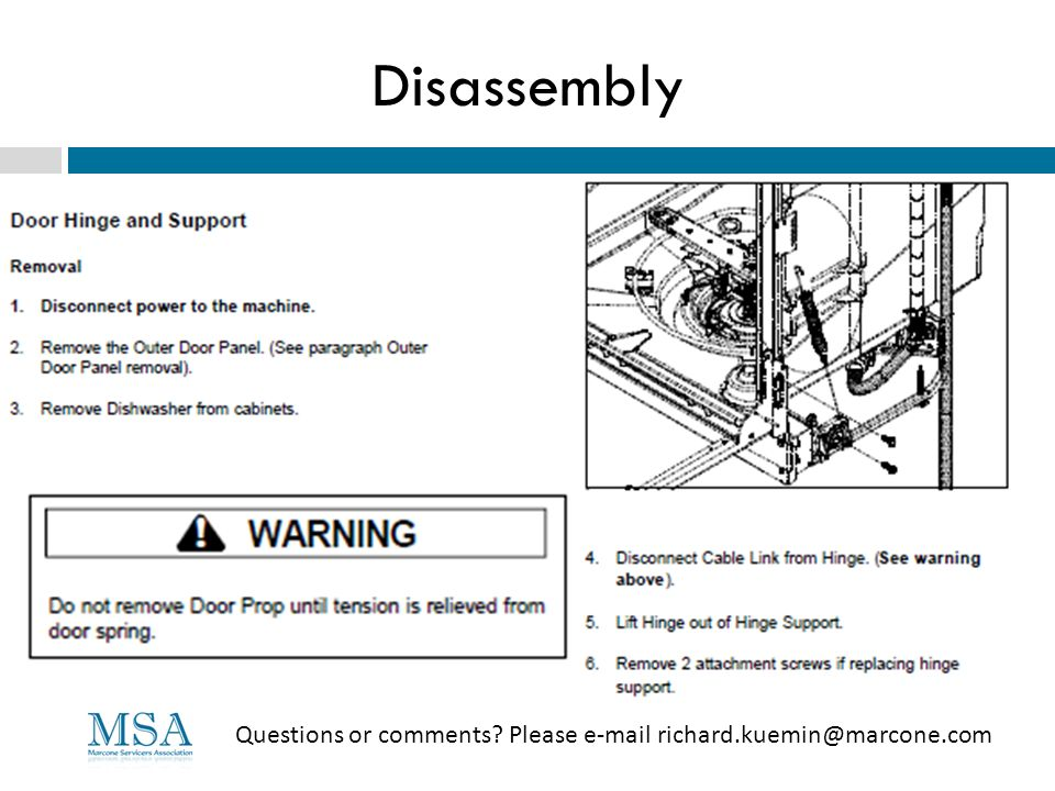 Disassembly Questions or comments Please e-mail richard.kuemin@marcone.com