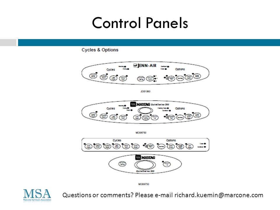 Control Panels Questions or comments Please e-mail richard.kuemin@marcone.com