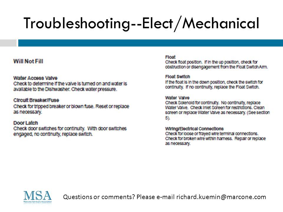 Troubleshooting--Elect/Mechanical