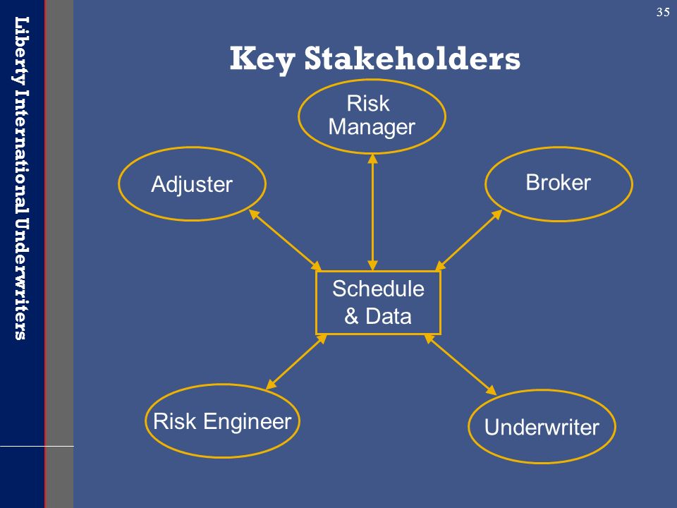 Key Stakeholders Risk Manager Adjuster Broker Schedule & Data