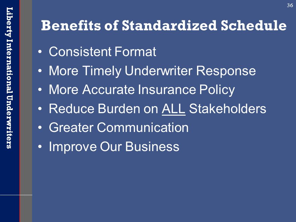 Benefits of Standardized Schedule