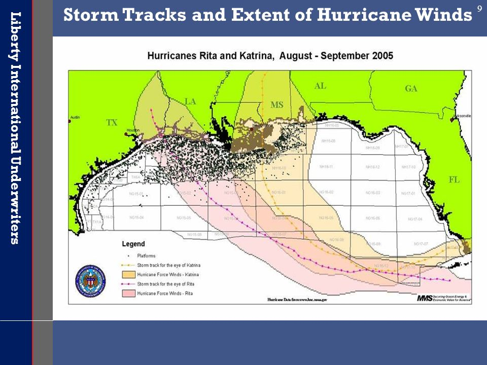 Storm Tracks and Extent of Hurricane Winds